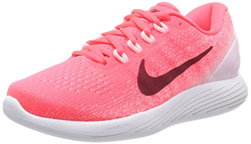 Nike Women's WMNS Lunarglide 9 Running Shoes, Orange (Hot Punch/Arctic Pink/White/Noble Red), 3 UK 36 EU