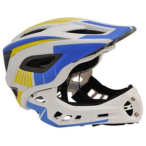 KIDDIMOTO 2-in-1 Fahrradhelm für Kinder, Jungen und Erwachsene MTB, BMX, Dirtbike, Skateboard mit Abnehmbarer Kinnschutz, Weiss/Blau medium