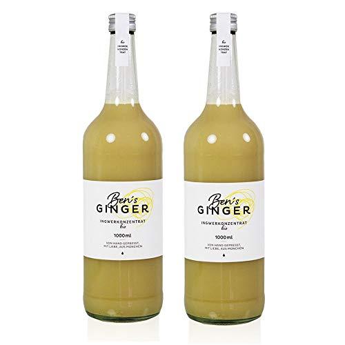 2 Flaschen BIO BEN'S GINGER - BIO INGWERKONZENTRAT - 2 x 1 Liter (DE-ÖKO-037). Nicht gekocht, nur pasteurisiert