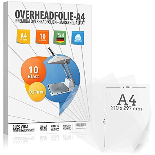 10 Blatt Overheadfolie PEMIUM - DIN A4 transparent - Für Laserdrucker, Kopierer - OHP Folien extra dick - Hochwertige Druck- und Projektions-Qualität - MADE IN GERMANY