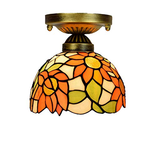 CH-LIGHT plafondlamp, 8 inch, 20 cm, Tiffany, kleur glas, plafondlamp, Allee, Corridor, balkon, klein, plafondlamp, zon, bloem