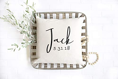 Custom Throw Pillow Cover Personalized Pillow Custom Baby Name Pillow First Name Date Birth Announcement New Baby Nurser Decor Prop