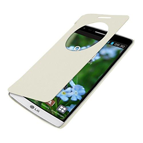 kwmobile 1x Funda de Cuero sintético Flip Cover Compatible con LG G3 S en Blanco