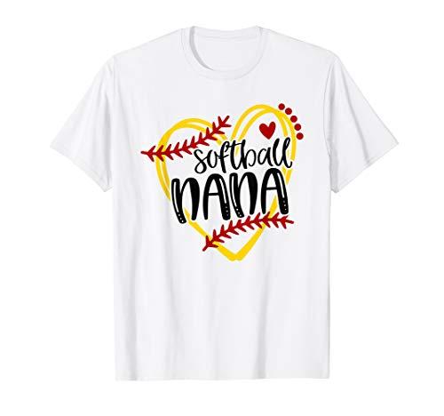 Womens Softball Nana, Grandma, Softball Tshirt for Women