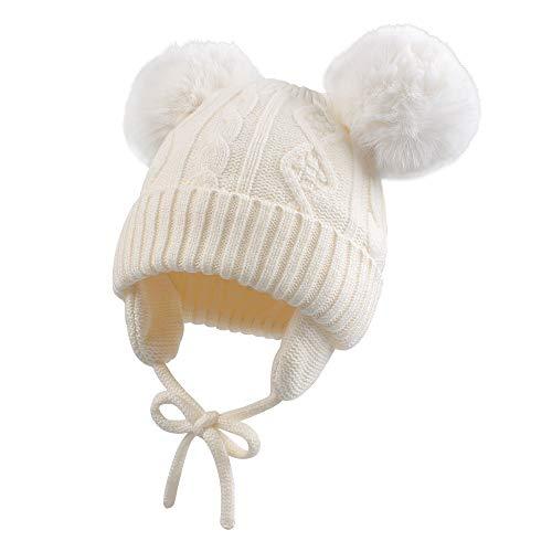 XIAOHAWANGベビーニット帽 赤ちゃん 女の子 男の子 耳保護付き 綿 無地 柔らかい 暖かい かわいい 防風・防寒・保温 春 秋 冬 … (0-6ヶ月, ホワイト・ポンポン)
