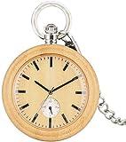 Reloj de Bolsillo de Cuarzo de Madera de bambú con Estilo para Hombres Relojes de Bolsillo con dial de Color marrón Claro para niños Reloj de Mujer con Colgante de Cadena de Plata áspera para muj