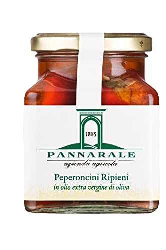 Agricola Pannarale - Peperoncini Ripieni di Tonno - Peperoncini Italiani Sott'Olio Extravergine di Oliva - gr.280 - 1 Vasetto