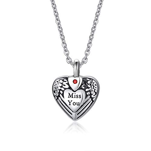 PHLPS Stainless Steel Corrosion MISS YOU Heart-shaped Necklace Ashes Box Pendant Can Open The Neck Zircon Memorial Family Pet Cat And Dog Ashes Collection Memorial Pendant