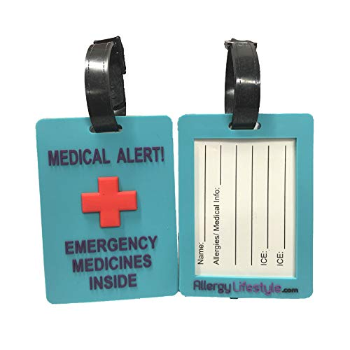 Medical Alert ID Tags: Medical Alert! Emergency Medicines Inside (Twin Pack) - Diabetes Alert Bag Tag, Epilepsy Alert, Asthma Alert