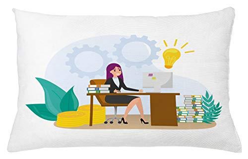 ABAKUHAUS Girl Boss Sierkussensloop, Vrouw zit aan de balie, Decoratieve Vierkante Hoes voor Accent Kussen, 65 cm x 40 cm, Veelkleurig