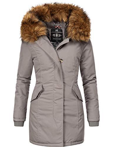 Marikoo Damen Winter Mantel Winterparka Karmaa-Prc Grau Gr. S