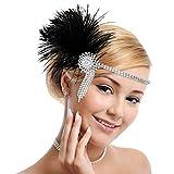 MWOOT 1920 Diadema de Pluma Cinta, Vintage Cristal Diamante Bandas de Pelo Años 20 Flapper Pelo Banda de Pluma Disfraz Gatsby Accesorio
