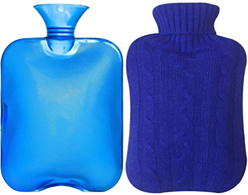 Attmu Classic Rubber Transparent Hot Water Bottle 2 Liter with Knit Cover...