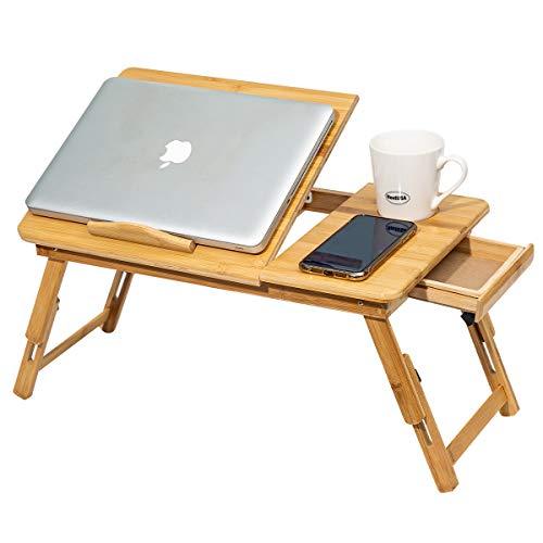 [con ventilador] Mesa portátil plegable de madera, soporte de ordenador portátil ajustable, mesa de cama ajustable con cajón, bandeja de lectura para niños de alta calidad para libro de revistas