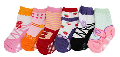 Colourful Baby World Bébé Filles Nourrisson Ballerines Chaussettes 6 Paquets Anti-dérapant Rose Age 2 3 4 - Multicolore, 2 to 4 years old