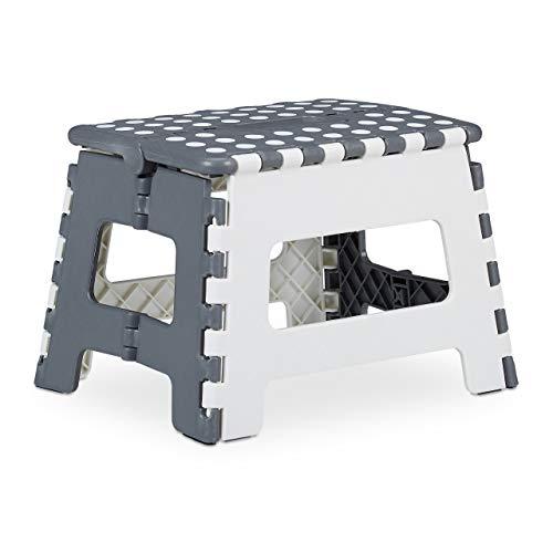 Relaxdays Tritthocker klappbar, einstufiger Klapphocker mit Griff, bis 120 kg, Kunststoff, 22,5 x 32 x 25 cm, grau/weiß