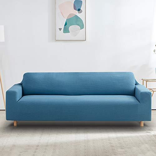 Furlinic Funda Sofa Elastica 4 Plazas Textile Anti Perros Antideslizante Poliéster Adaptable Fundas Sofa Relax Protectora Antipelos Azul 238-300cm