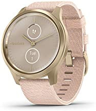 Garmin vívomove Style, Hybrid Smartwatch with Real Watch Hands and Hidden Color Touchscreen Displays, Gold with Pink Woven...