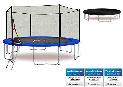 LifeStyle ProAktiv LS-T400-PA13 (BW) Garten- Trampolin 400 cm - 13ft - (Blau) Extra Starkes Sicherheitsnetz - 180kg Traglast