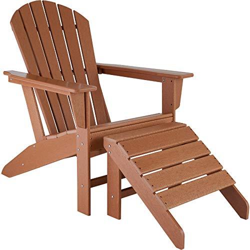 TecTake 800818 Adirondack Gartenstuhl mit Fußablage, Holzoptik, Gartensessel mit Breiten Armlehnen und Fußhocker, für Garten, Terrasse und Balkon, wetterfest (Braun | Nr. 403803)