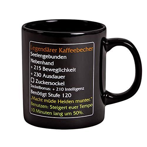 Elbenwald Tasse Legendärer Kaffeebecher Level 120 MMO Item für World of Warcraft Fans 320ml Keramik schwarz