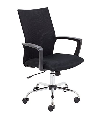 Office Hippo Office Chair with Arms, Adjustable Mesh Desk Chair for Home with Swivel, Wheels, Black