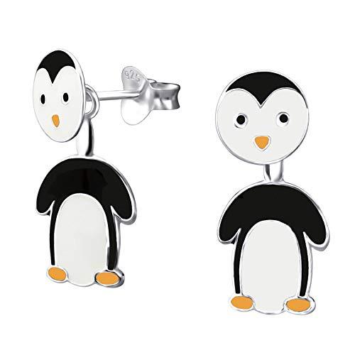 Monkimau Orecchini bambina pinguino doppio orecchini in argento sterling 925