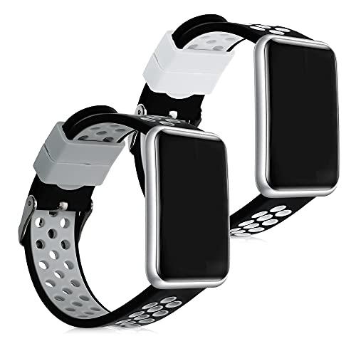 kwmobile Cinturino in Silicone Compatibile con Huawei Watch Fit - 2X Fascetta Fitness Tracker con Fibbia ca. 14-22 cm