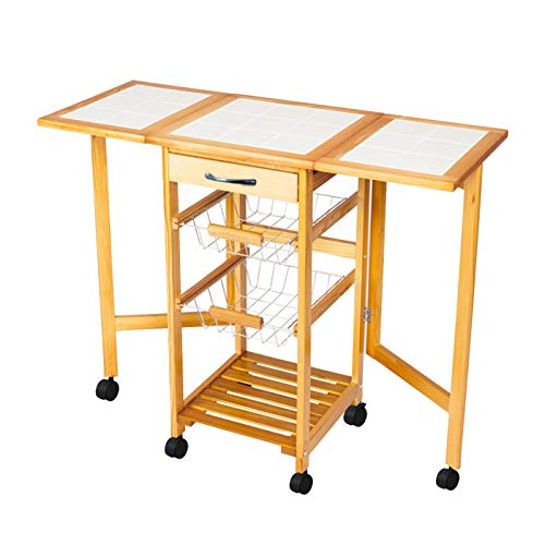 Portable Folding Kitchen Cart Rolling Tile Top Drop Leaf Kitchen Storage Trolley Cart Square Solid Wood Folding Dining Cart for Home,Dining Room,Office,Restaurant,Island Sapele Color SPARSIFOLIA