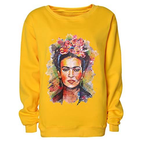 Frida Kahlo Imprimir Hoodie Sudadera con Cuello Redondo Mujer Sudadera con Cuello en u Manga Larga Jerseys (Color : Yellow, Size : M)