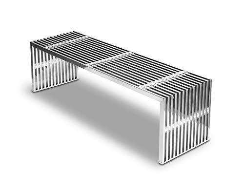NEUERRAUM Edelstahl Bank Sitzbank Edelstahl poliert mit transparenten Acryl Würfeln. Passender Hocker, Sideboard oder Couch Tisch bestellbar. Länge 140 x Tiefe 40 cm x Höhe 42 cm / 25 kg.