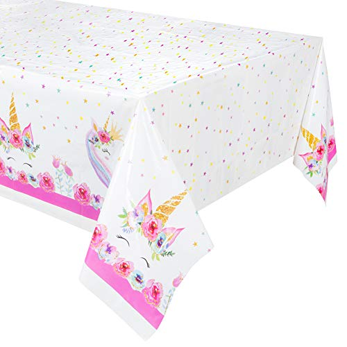 2Pk Larger Size Unicorn Plastic Table Cover,Disposable Unicorn Tablecloth, Magical Unicorn Party Supplies - 53 x 90 Inches (2pk)