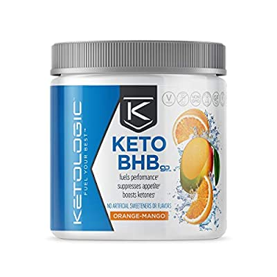Ketologic BHB Exogenous Ketones Powder with Caffeine | Supports Low Carb, Keto Diet & Boosts Energy, Focus | Keto Pre-Workout Supplement, Beta-Hydroxybutyrate BHB Salts | Orange Mango - 10 Serve