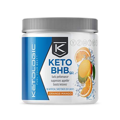 Ketologic BHB Exogenous Ketones Powder (10 Serve) Supports Low Carb, Keto Diet & Boosts Energy, Focus - Keto Pre-Workout Supplement, Beta-Hydroxybutyrate BHB Salts - Orange Mango