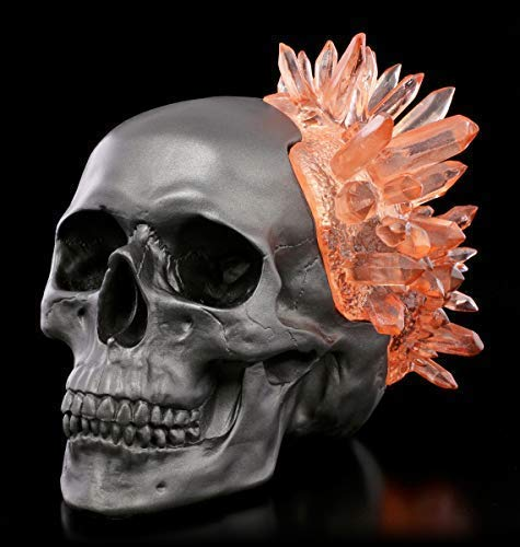 Figuren Shop GmbH Gothic Totenkopf - Crystal Skull - granatfarben | Totenschädel, handbemalt