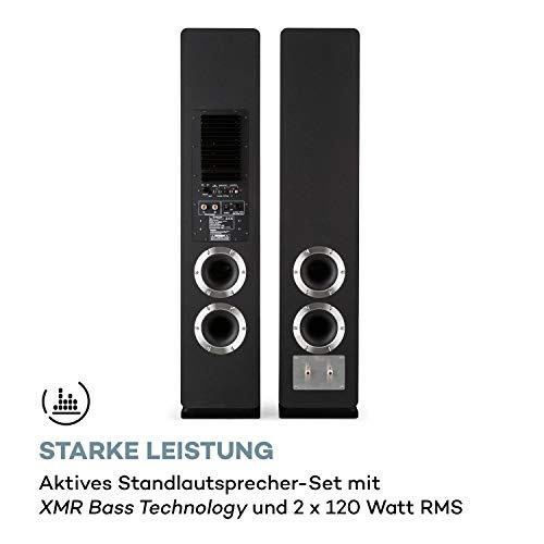 auna Line 700 A, Standlautsprecher-Set, Bluetooth, digitaler optischer und coaxialer Eingang, AUX-und Subwoofer-Ausgang, aktiv, 2x120 W RMS, pianoschwarz