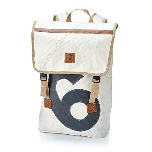 360° Landgang Rucksack aus Segeltuch mit Schultergurt, Recycling Seesack Shopper Bag, Schultertasche Hobo Bag für Shopping und Strand, Rucksack weiß, Zahl grau