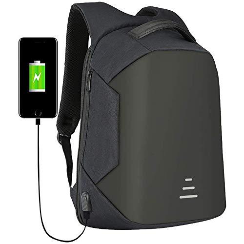 LJHHH Diebstahl-Rucksack, Mit USB-Anti-Diebstahl-Laptop-Tasche Multi-Functional Water-Resistant Gelegenheits Camping Trekking Rucksack, Für 16-Zoll-Laptop Und Notebook,Schwarz