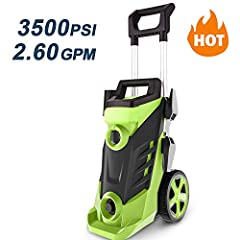 【3500PSI Great Power】 Featuring 3500PSI Max. Pressure and 2.6 GPM Max. Water Flow, the high pressure washer can be used to clean a wide variety of surfaces. Powered Using An Air Cooled Industrial Motor And The Power Will Blast Through Grime And Dirt ...