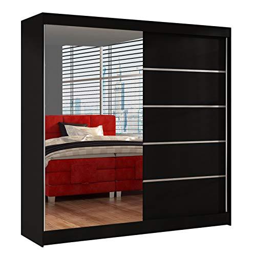 Schwebetürenschrank Basti III 200 cm mit Spiegel - Kleiderschrank, Schiebetürenschrank mit Kleiderstange und Einlegeboden, Schlafzimmerschrank, Schiebetüren, 200x215x58 cm (Schwarz)