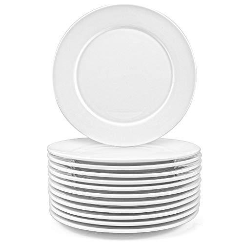 Foraineam 12 Stück Essteller aus Porzellan Speiseteller Flach Teller Frühstückteller Dessertteller für Haushalt Gastronomie Geschirr - Weiß, 20 cm