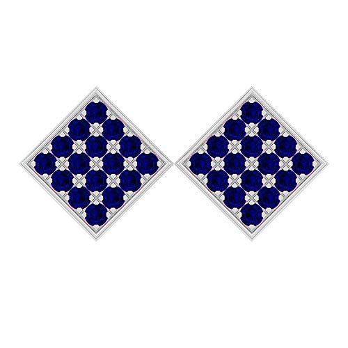 Rosec Jewels - Pendientes de zafiro difuso de 1,6 quilates, aretes de oro, aretes cuadrados de racimo con rosca trasera. azul