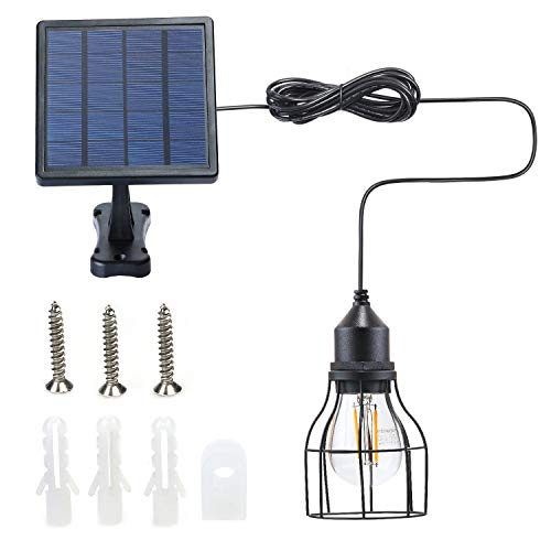Kyson Outdoor Solar Powered Shed Light Pendant Lamp Vintage Hanging Edison Bulb Barn Light for Garden Porch Umbrella (Style 2)
