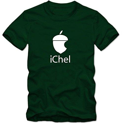 Herren Men T-Shirt iChel Parodie Eichel Fun Logo Computer Fun Tee S-3XL Neu, Größe:L;T-Shirt:Dunkelgrün;Aufdruck:Weiß