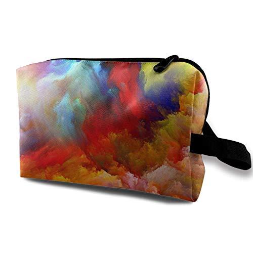 XCNGG Make-up Taschen Mode Künstler Aufbewahrungstasche Geräumige kleine Make-up Tasche mit Reißverschluss Bunte Aquarell Wolke