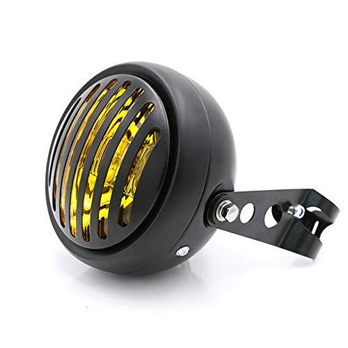 Yiwa koplamp voor motorfiets, 6,5 inch, DC 12 V, motorfiets, retro, motorfiets, scooter, vintage, rond, geel, voor ondersteuning