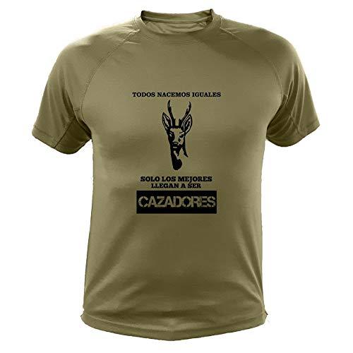 AtooDog Camisetas Personalizadas de Caza, Venedo, Todos nacemos Iguales Solo los Mejores Llegan a ser Cazadores, Ideas Regalos (30137, Verde, XXL)