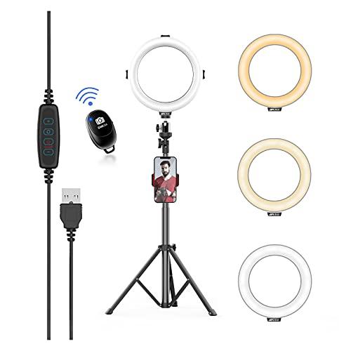 8'' LED Ringlicht mit ausziehbarer Stativständer & Telefonhalter, 3 Farbmodus und 10 Helligkeitsstufen, USB Powered, für Tik Tok, Makeup, Video, Fotografie, Live-Streaming