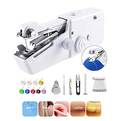 Portable Sewing Machine, Mini Handy Sewing Machine, Beginner Electric Handheld Sewing Machine Cordless Quick Handy Stitch Fabric Clothing Kids Cloth Pet Clothes DIY Home/Travel Use