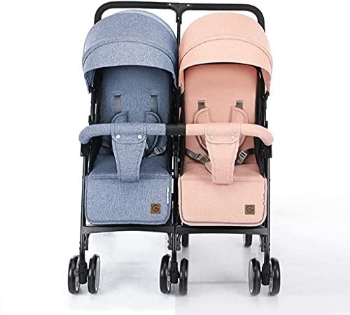 IOUYRRN Doble Cochecito para bebés, para Cochecito de Rueda giratoria Tamaño Universal Cubierta de Lluvia/Escudo de Viento Espacio de Almacenamiento Grande 5 Puntos Cinturones de Seguridad, diseño p